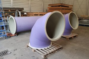 new fabrication jobs, plastic curved ductwork sections, GRP